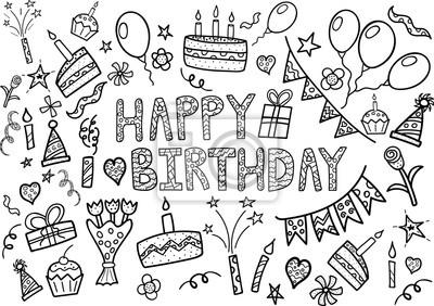 Happy Birthday Doodle-Set mit Hand gezeichneten Elemente
