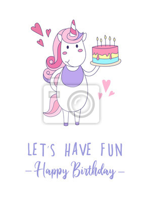 Fototapete Happy Birthday Greeting Card With Unicorn And Cute Cake Vector Illustration