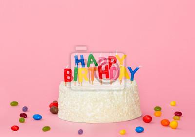 Happy Birthday Kuchen Mit Farbe Kerzen Auf Rosa Hintergrund