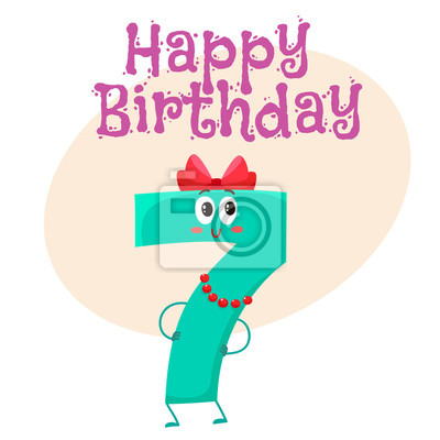 Fototapete Happy Birthday Vector Greeting Card Poster Banner Design With Cute And Funny Seven