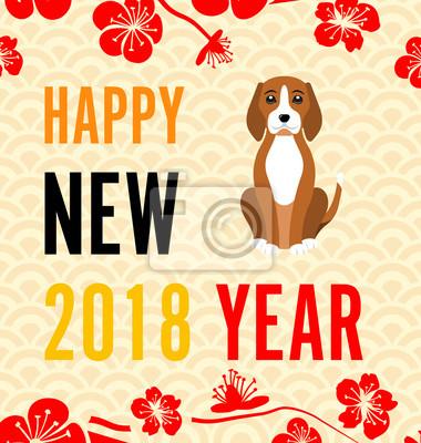 Happy chinese neujahr 2018 karte mit gold dog zusammenfassung ...