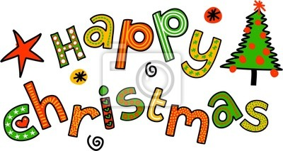 Happy Christmas Cartoon Doodle Text