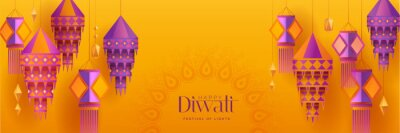 Fototapete Happy Diwali. Group of paper graphic Indian lantern on Indian festive theme big banner background. The Festival of Lights.