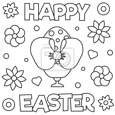 Fototapete: Happy easter. coloring page. vector illustration.