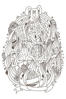 Happy Easter monochrome Ornament für Erwachsene Malbuch.