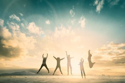 Fototapete Happy family people group celebrate jump for good life on weekend concept for win victory, person faith in financial freedom.