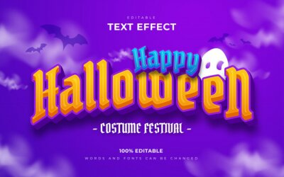 Fototapete Happy halloween and scary editable text effects style