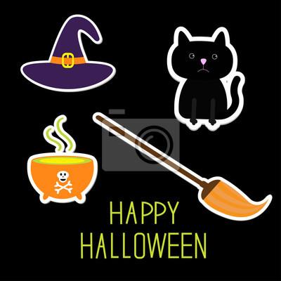Happy Halloween Hexe Satz. Schwarze Katze, Hut, Kessel, Besen. Ca