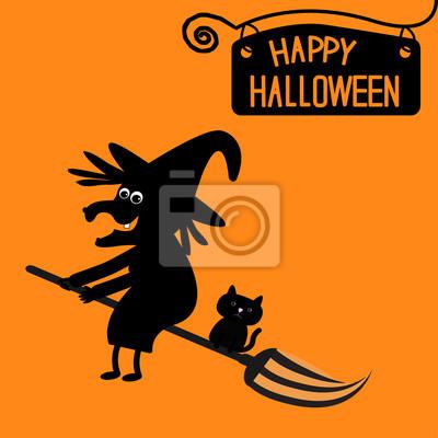 Happy Halloween Hexe und Katze Karte.
