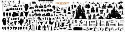 Fototapete Happy Halloween Magic collection, witch, wizard attributes, creepy and spooky elements for halloween decorations, doodle silhouettes, sketch, icon, sticker. Hand drawn vector illustration.