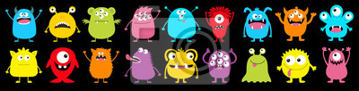 Fototapete Happy Halloween. Monster colorful round silhouette icon super big set line. Cute cartoon kawaii scary funny baby character. Eyes, tongue, tooth fang, hands up. Black background. Flat design.