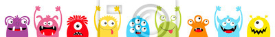 Fototapete Happy Halloween. Monster colorful silhouette head face icon set line. Eyes, tongue, tooth fang, hands up. Cute cartoon kawaii scary funny baby character. White background. Flat design.