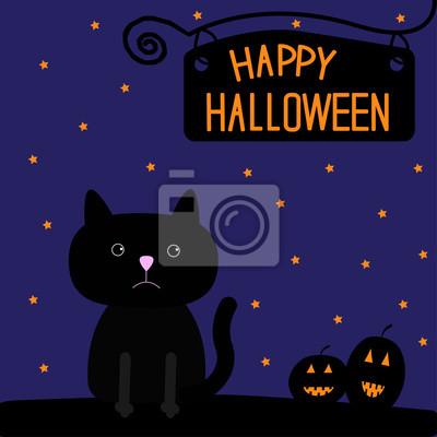 Happy Halloween schwarze Katze und Kürbisse Karte.