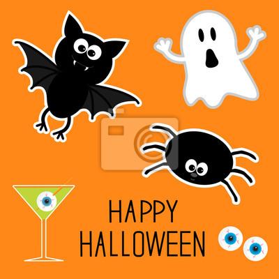 Happy Halloween-Set. Geist, Fledermaus, Spinne, Augen, Martini. Karte.