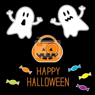 Happy Halloween-Set. Geister, Kürbis, Süßigkeiten. Karte.