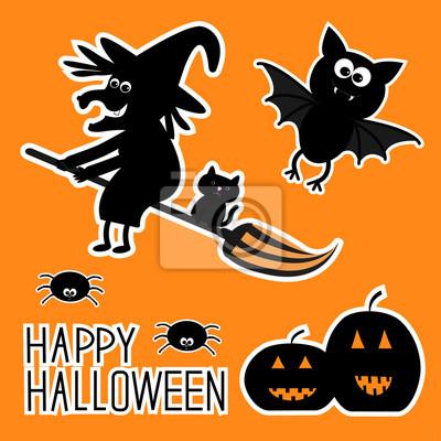 Happy Halloween-Set. Hexe Kürbisse, Fledermaus, Spinnen, Karte.