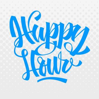 Happy Hour. Bürstenbeschriftung. Kalligraphie. Halbton Hintergrund.