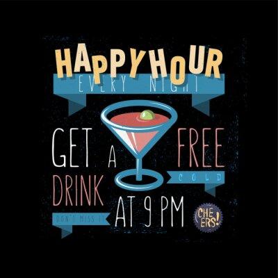 Happy Hour. Erhalten Sie ein freies Getränk. Vektor Cartooned Abbildung.