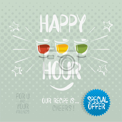 Happy Hour. Hand gezeichnet vektor cartoony Abbildung.