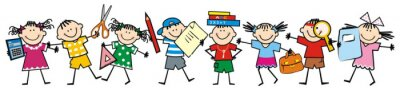 Fototapete Happy kids and school supplies. Group of girls and boys. Vector icon.