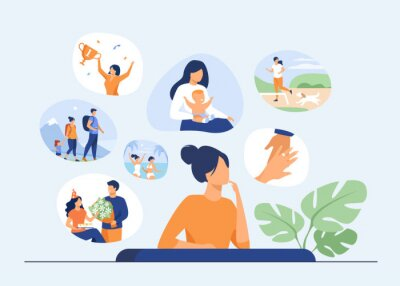 Fototapete Happy life memories concept. Woman thinking over positive important moments of life experience, child birth, engagement, vacation. Vector illustration for past, personality, achievement topics