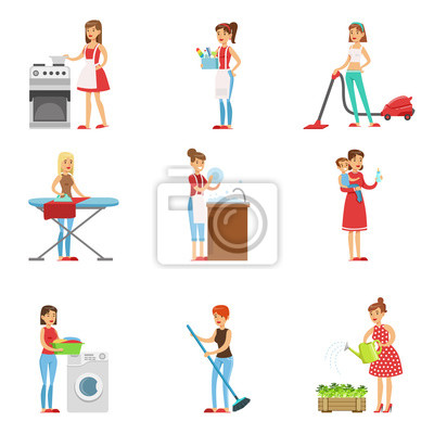 Happy modern housewives reinigung und housekeeping, durchführung ...