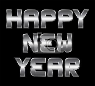 Happy new year, metall gruß, schwarzer hintergrund fototapete ...