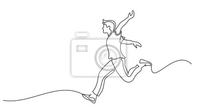 Fototapete Happy running man. Continuous one line drawing