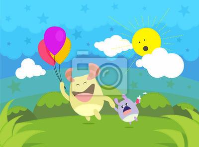 Happy Time Illustration Charakter