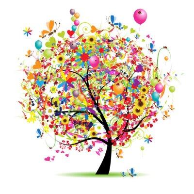 Happy Urlaub, lustige Baum mit Ballons