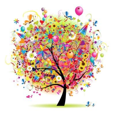 Happy urlaub, lustige baum mit luftballons fototapete • fototapeten ...