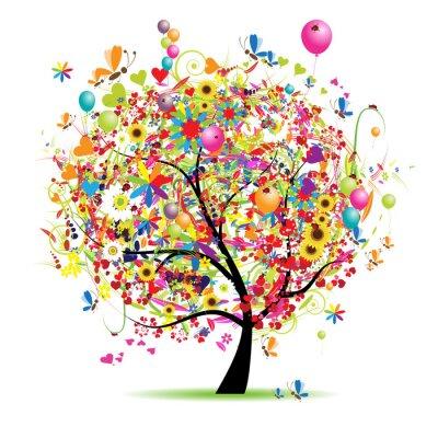 Happy Urlaub, lustige Baum mit Luftballons