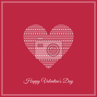 Fototapete Happy Valentine's Day Card with cute heart