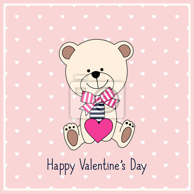 Fototapete Happy Valentine's Day Card with cute teddy bear