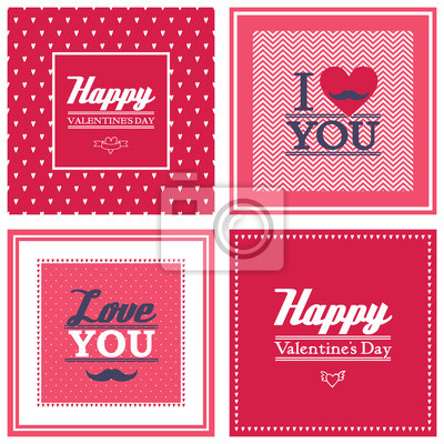 Fototapete Happy valentines day cards set