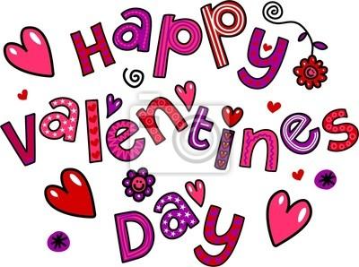 Happy Valentines Day Cartoon Doodle Text