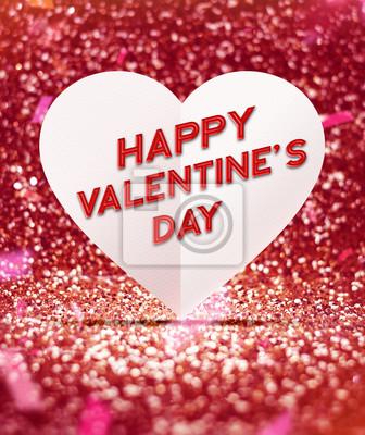 Fototapete Happy Valentinstag Mit Herz In Rot Glitter Studio Zimmer Mit