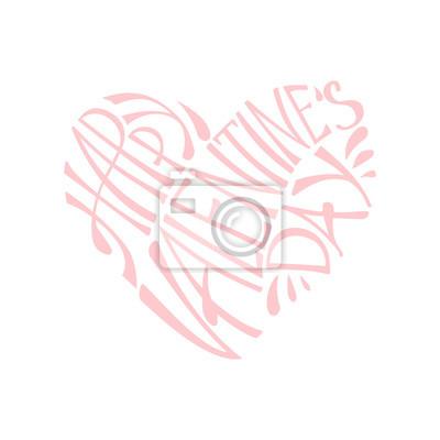 Fototapete Happy Valentinstag Schriftzug Grußkarte auf weißem Hintergrund, rosa Vektor-Illustration. Glücklicher Valentinstagtext in einer Herzform.