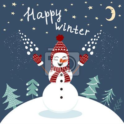 Happy Winter-Karte mit genießen Schneemann im Vektor
