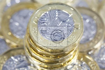 Haufen Von Einem Pfund Münzen Britische Währung Fototapete