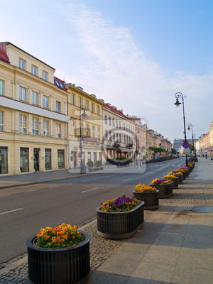 Fototapete Haupt angesagtesten Straße ( Novy Swiat ), Warschau, Polen