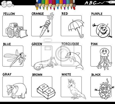Hauptfarben pädagogisches arbeitsblatt für die färbung fototapete ...