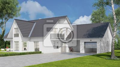 Haus Als Einfamilienhaus Mit Garage Und Garten Fototapete