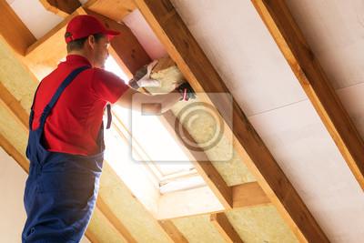 Haus Dachboden Isolierung Bauarbeiter Installieren Steinwolle