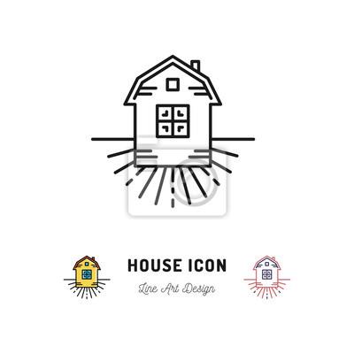 Haus icon, dorf wohnungen symbol, homestead. vector dünne linie ...