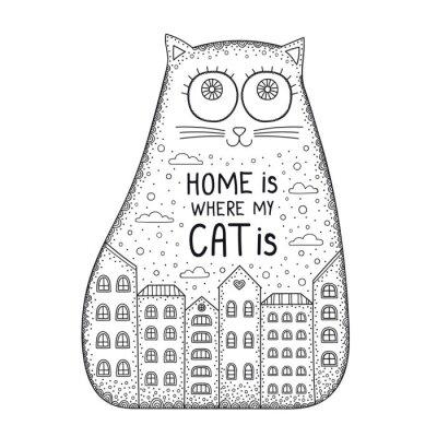 Haus ist, wo die katze ist. gekritzelkatze mit verzierung, haus ...