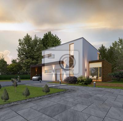 Haus Kubus 2 Bei Dammerung Mit Holzlattung An Carport Und Anbau