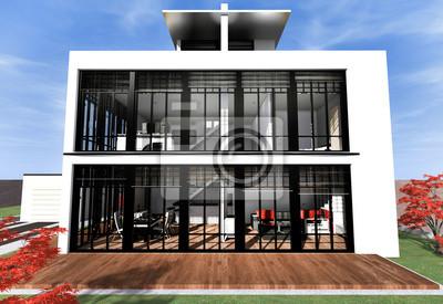 Haus Mit Dachterrasse In Weiss Fototapete Fototapeten