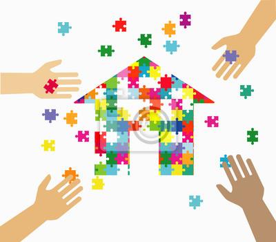 Haus-objekt aus puzzleteilen. isoliert puzzleteile auf weißem ...