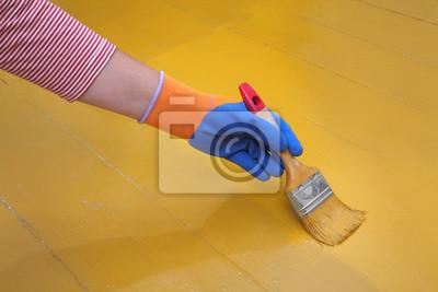 Fototapete Haus Renovierung, Boden Malerei, Großansicht Der Hand Mit Pinsel